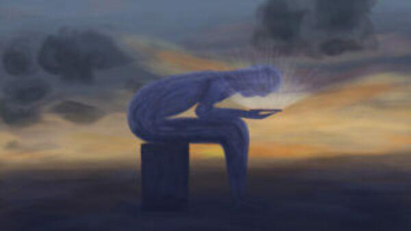 Schilderij van een smartphone gebruiker bij valavond.