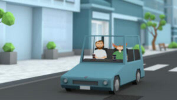 Animators in cars getting coffee